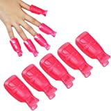 Tcplyn Durable 10 Pcs Plastic Nail Clip Nail Art Gel Polish Remover Soak Off Cleaner Cap Clip Rose red
