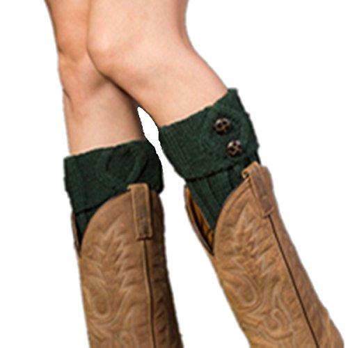 Topper Green - Clearance! E-Papaya 2016 Women's Buttons Leg Warmer Knit Boot Socks Topper Cuff (X-Green)