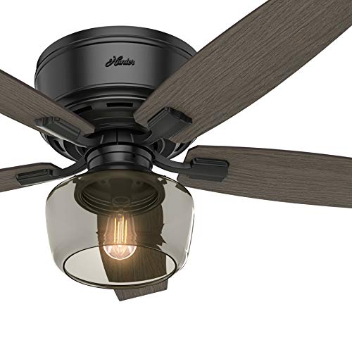 Hunter Fan 52 inch Low Profile Matte Black Indoor Ceiling Fan with LED Ligh Kit and Remote Control Renewed