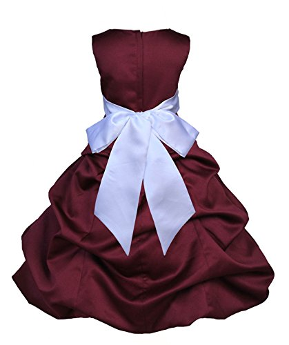 ekidsbridal Burgundy Satin Pick-Up Bubble Flower Girl Dress Daily Dress 806S 6