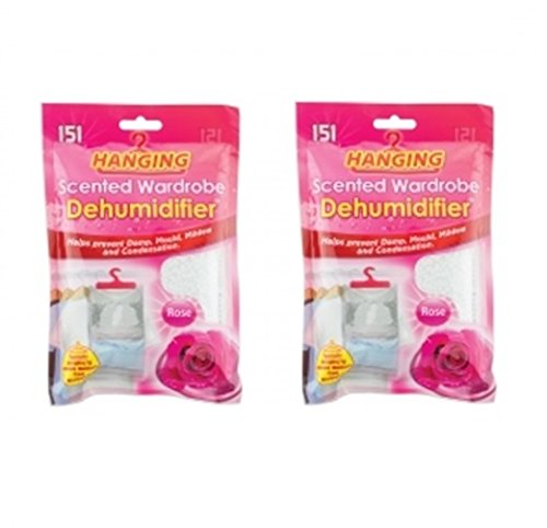 Set Of 2 Scented Hanging Wardrobe Dehumidifiers Damp Mould Condensation Control (Rose)