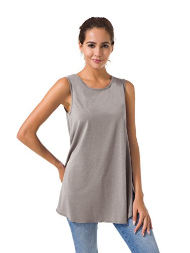 SIORO Womens Tunic Tops Sleeveless Casual Top Flowy Tank Loose Fit Short Sleeve Blouse Top Swing T-Shirt Summer Solid Dusk XXXL