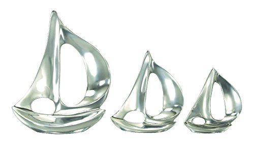 Glass Sailboat - Deco 79 Aluminium Sailboat, 12 by 8 by 7-Inch, Set of 3
