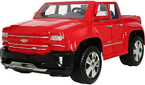 Rollplay 12V Chevy Silverado Kid's Truck, Two-Seat Ride On Toyup to 5 mph - Battery-Powered Kid's Car - Ages 3 & Up - Red