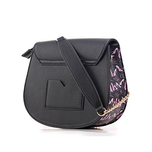 Barbie Bolso bandolera y baguette elegante de estilo chicas bolso casual para mujer BBFB556 23x20x9CM negro