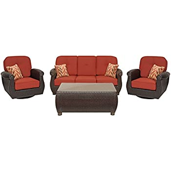 La Z Boy Outdoor Breckenridge 4 Piece Resin Wicker Patio Furniture Conversation Set Brick Red Two Swivel Rockers Sofa And Coffee Table With All Weather