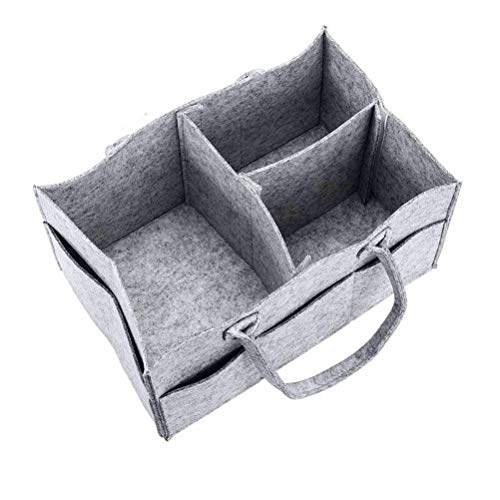 with Felt Organiser Bag Caddy EAHOME Storage Toys Baby Foldable Nappy Grey Changeable Diaper Kid Basket Organiser Portable Compartments 70xnZxO