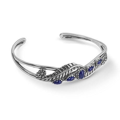 Sterling Lapis Bracelet - American West Sterling Silver Blue Lapis Gemstone Leaf Rosette Cuff Bracelet Size Large