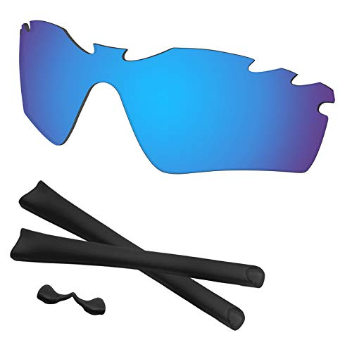 (Predrox Blue Mirror Radar Path Vented Lenses & Rubber Kits Replacement for Oakley Polarized)