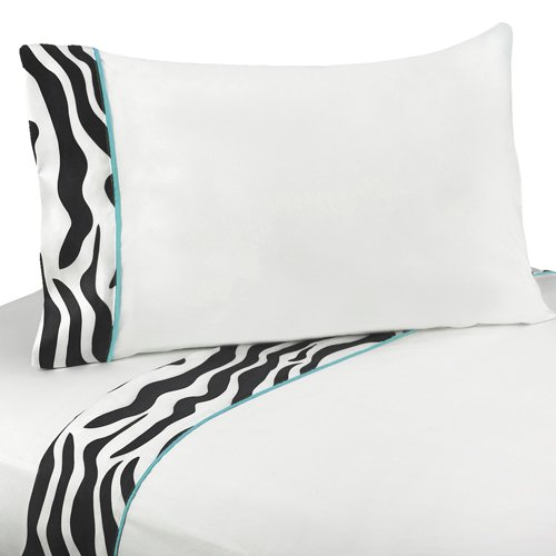 3pc Twin Sheet Set for Turquoise Funky Zebra Bedding Collection by Sweet Jojo Designs