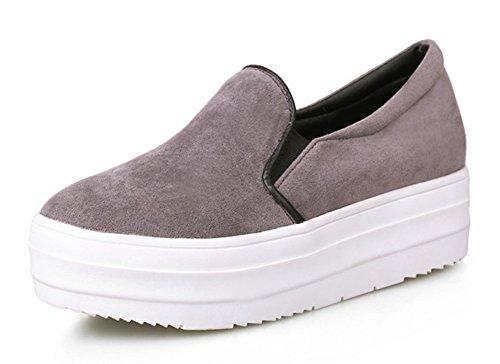 Aisun Womens Casual Comfort Ronde Neus Laag Uitgesneden Slip Op Dikke Zool Platform Sneakers Schoenen Grijs