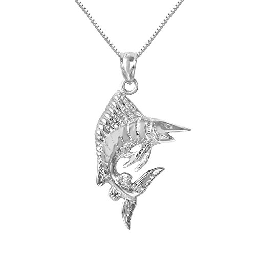 Sterling Silver Marlin - Sterling Silver Sailfish Marlin Fish Charm / Pendant, Made in USA, 18