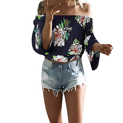 Aniywn Women Sexy Off Shoulder Half Sleeve Solid Chiffon Pullover Tops Casual T-Shirt (XXXL, P Navy)