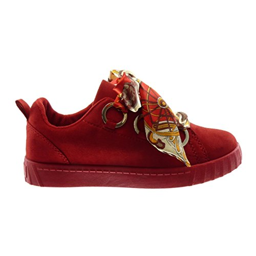 Angkorly Women's Fashion Shoes Trainers - Tennis - Sporty Chic - Satin Lace - Fantasy - Ring Detail Flat Heel 2.5 cm Red mvD2J