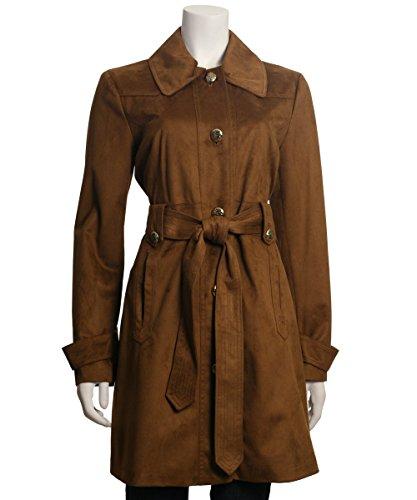 Jessica Simpson Women's Suede Rain Trench Coat, Cognac, M