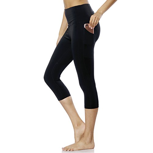 KVAVKVO High Waist Workout Leggings Yoga Pants with Pockets for Women (Small, Yogapants-Pocket-Black-009)