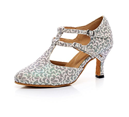 JSHOE Indoor Ballroom Dance Chaussures Femmes Pour Salsa Latin Tango Floral Satin,Silver-heeled7.5cm-UK3.5/EU34/Our35