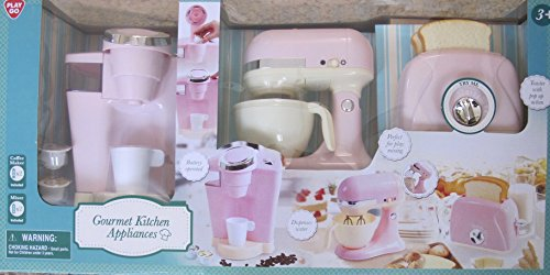 Kitchen Appliances GOURMET Child Size (Pink & Off White) w BATTERY Operated COFFEE MAKER (Dispenses Water), Battery Operated MIX MASTER, and TOASTER has POP-UP - Maker Play Coffee Set