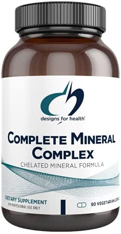 Designs for Health Complete Mineral Complex – Iron Free Multi Mineral Supplement, Chelated Minerals for Superior Absorption – Magnesium Malate, Zinc, Chromium, Selenium + More – Non-GMO (90 Capsules)