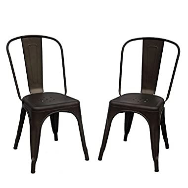 Purenity Metal Stack-able Industrial Chic Dining Bistro Cafe Side Chairs,Outdoor and Indoor,Set of 2 (Matte Metal)