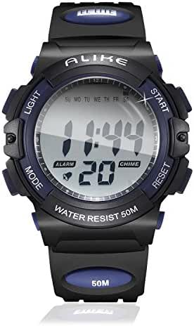 Kid Outdoor Sport Unique Digital Electronic Waterproof PU Band Watch with Chronograph, Alarm, Stopwatch for Boys Girls - Blue