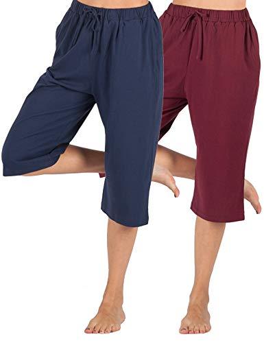 (WEWINK CUKOO 100% Cotton Women Pajama Capri Pants Lounge Pants with Pockets Sleepwear (Navy + Wine Red, L=US 12-14))