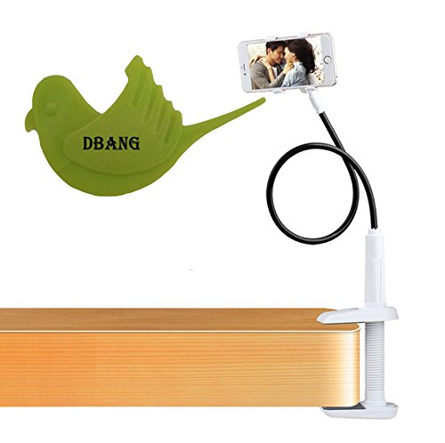 Price comparison product image DBANG Double Clamps Flexible Long Arm Cell Phone Holder With Screw Base clip,Desktop Bed Lazy Bracket Mobile Stand for Bedroom, Kitchen, Office, Bathroom With Bird Shape DBANG Orange Peeler Gift (Black)