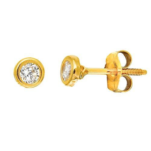 JewelStop 14K Solid Yellow Gold 3.5mm Bezel Setting CZ Stud Post Earrings