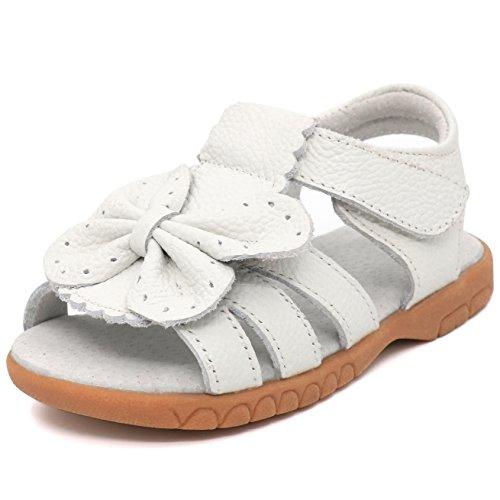 Femizee Toddler Girls Leather Summer Flower Sandals,Whtie Butterfly,1537 CN30