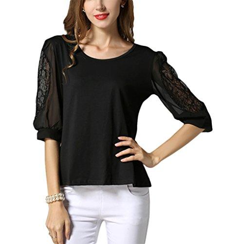 KINGDESON Women's Lace Sleeve Casual Round Neck Chiffon Blouse Top T Shirt (Bo Peep Wig)