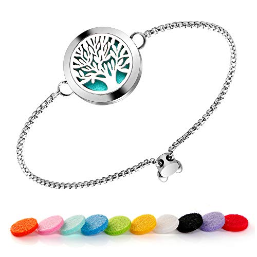 Maromalife Diffuser Bracelet Adjustable Slide Healing Bracelet Stainless Steel Locket Tree of Life with 10 Felt Pads