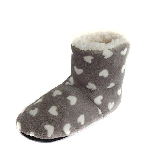 Leisureland Womens Fleece Lined Heart Design Bootie Slippers Grey YeYwyiNNC3