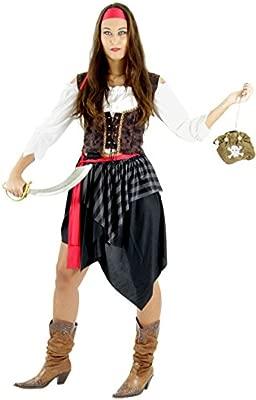 Foxxeo Traje de Pirata para el Carnaval de señoras Falda Pirata Pirata Novia Pirata Carnaval de Mujeres, tamaño: XXL