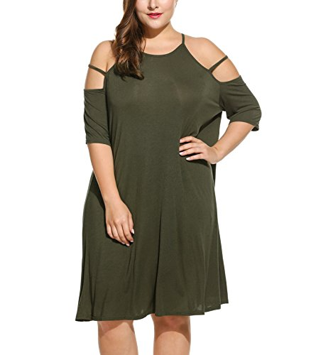 Meaneor Women's Plus Size Cut Out Cold Open Shoulder Sexy Mini Dress - Long Beach Macy's In