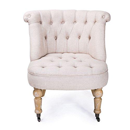 ELEGAN Luxury European Edition Leisure Living Room Sofa Chair Accent Armchair, Natural, Tufted, European Style