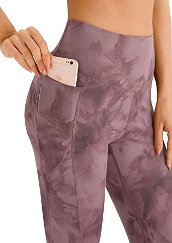PERSIT Yoga Pants for Women Capri Leggings with Pockets High Waisted Tummy Control Leggings Workout Athletic Running Gym Exercise Pants Tie Dye Pink M