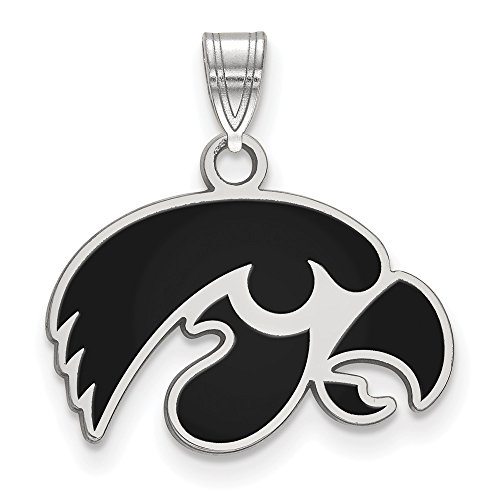 Jewelry Stores Network University of Iowa Hawkeyes Black School Mascot Head Pendant in Sterling Silver S - (13 mm x 19 mm)