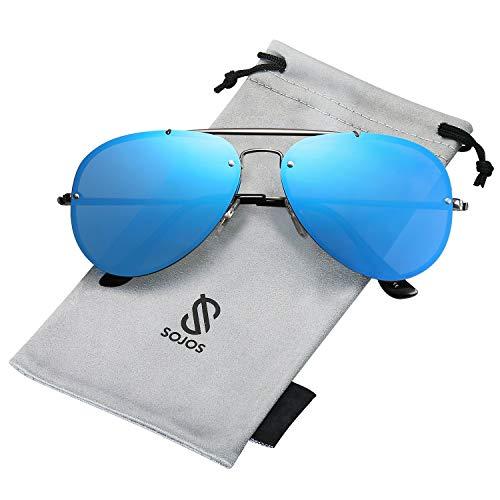 SOJOS Rimless Aviator Sunglasses for Men and Women Metal Frame Mirrored Lens TRENDALERT SJ1105 with Gun Frame/Blue Mirrored Lens