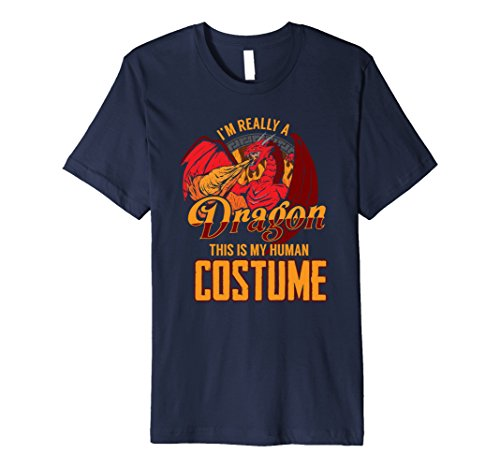 Mens I'm Really A Dragon This Is My Human Costume T Shirt Large Navy - Diy Halloween Costumes For Two People