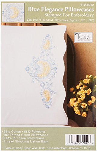 Tobin Stamped Pillowcase Pair Stamped Cross Stitch Kit for Embroidery, 20 by 30-Inch, Blue Elegance ()