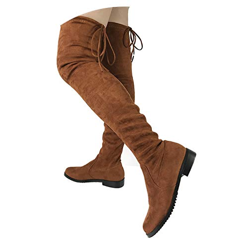 - Thigh High Flat Boots Women Over The Knee Boots Comfort Fall Faux Suede Boots Shoes,Dark Brown,6