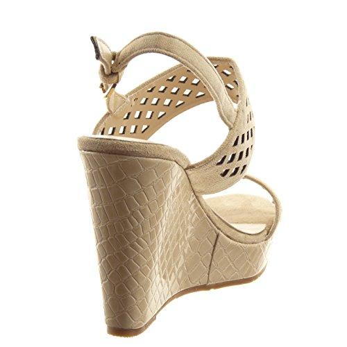 Sopily - Zapatillas de Moda Sandalias Abierto Zapatillas de plataforma Tobillo mujer acabado costura pespunte Perforado Piel de serpiente Talón Plataforma 10.5 CM - Beige