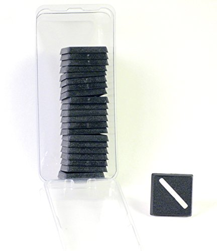 Hedral Value Pack of 20 - 20MM Diagonal Slotted Square Black Miniature Model Bases for TableTop or Miniature WarGames