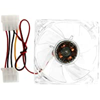 Wivily Clear 4-LED Blue Neon Light 80mm 12V 0.18A PC Computer Case Cooling Fan CPU Cooler 8025