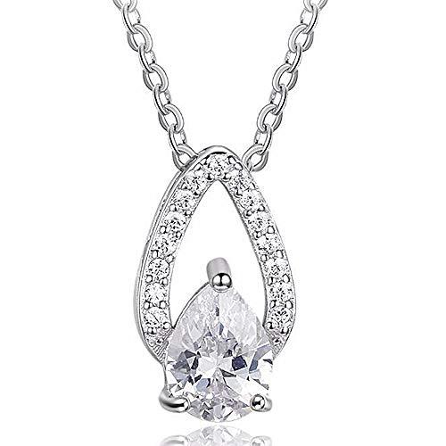 Diamond Teardrop Pendant Chain - 1.00 Ct Pear & Round Simulated Diamond Teardrop Pendant With Chain 10K White Gold