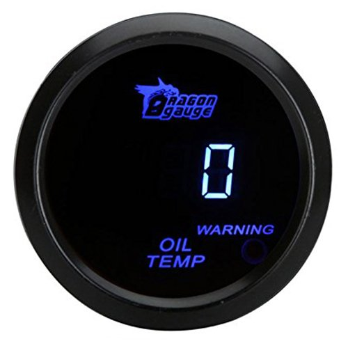 SODIAL(R) 52mm 2.0 inch LCD 0~150 Celsius Degree Auto Car Digital Oil Temp Temperature Meter Gauge with Warning Sensor Light - Black 92033A1