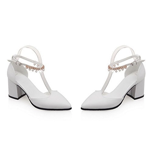 VogueZone009 Women's High Heels Solid Buckle Pointed Closed Toe Pumps Shoes White iYW9q