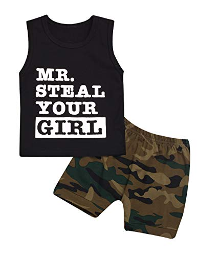 Baby Boy Outfit Mr Steal Your Girl Vest,Summer Black Sleeveless Tops and Camouflage Shorts Clothes Set (12-18 Months?Camouflage), Green