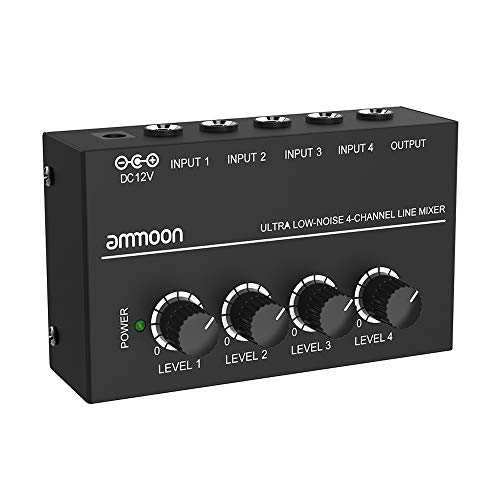 (ammoon MX400 Ultra-compact Low Noise 4 Channels Line Mono Audio Mixer with Power Adapter)