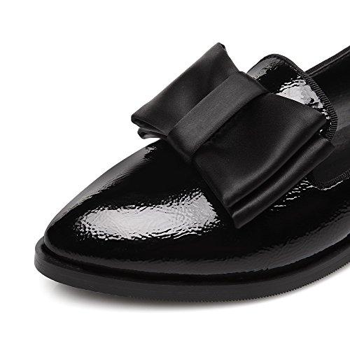 VogueZone009 Damen Lackleder Spitz Zehe Niedriger Absatz Ziehen auf Rein Pumps Schuhe Schwarz